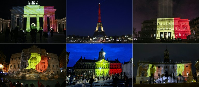 (COMBO) This combination of pictures created on March 22, 2016 shows colours of the Belgian flag being projected on to (from top L) the Brandenburg Gate in Berlin, the Eiffel Tower in Paris, the town council building in Belgrade, the Trevi Fountain in Rome, the Royal Palace at Dam Square in Amsterdam and Rome's Campidoglio in tribute to the victims of Brussels following the triple bomb attacks that killed about 35 people and left more than 200 people wounded.  / AFP / AFP AND ANP / Serbia OUT - Netherlands OUT