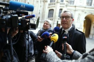Mayor of Brussels Yvan Mayeur speaks to journalists as he arrives at the Paris Hotel de Ville to be received by Mayor Anne Hidalgo on March 29, 2016, for a tribute to the victims of Brussels terror attacks. / AFP / THOMAS SAMSON        (Photo credit should read THOMAS SAMSON/AFP/Getty Images)