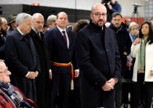 Belgium's Prime Minister Charles Michel attends a ceremony at the Maelbeek metro station to commemorate two years since bombings at Brussels airport and a metro station, in Brussels, Belgium March 22, 2018. Olivier Hoslet/Pool via REUTERS