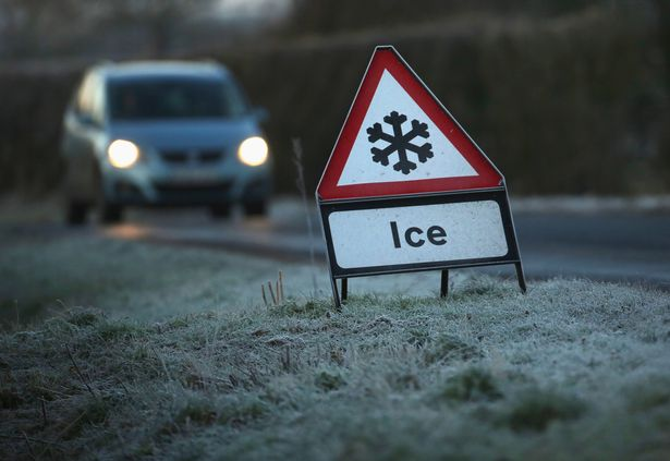 Snowy-road-sign