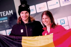 Belgian snowboarder Seppe Smits and Eleonor Sana pictured during a press moment to present the Belgian delegation to the Paralympic Winter Games in Pyeongchang, South-Korea, in Brussels, Wednesday 28 February 2018. The Winter Paralympics will take place from 09 to 18 March 2018. BELGA PHOTO JASPER JACOBS